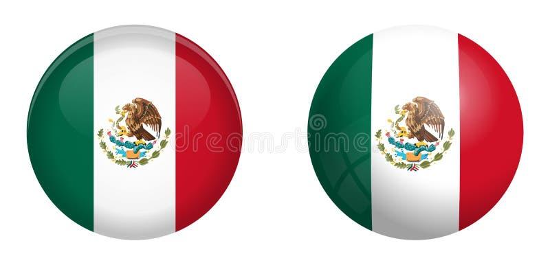 Mexico flagga under knappen för kupol 3d och på glansig sfär/boll vektor illustrationer