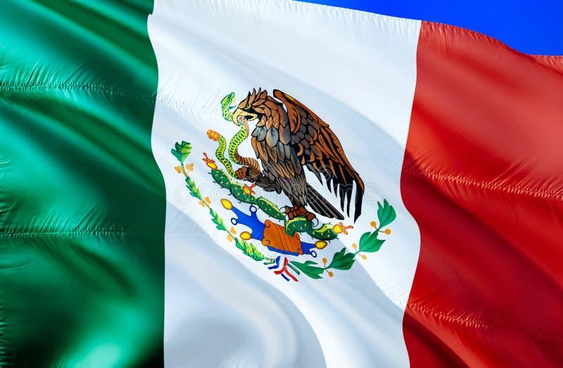 Mexico flagga vinkande design för flagga 3D Det nationella symbolet av Mexico, tolkning 3D Nationella färger och medborgareSydame arkivfoto