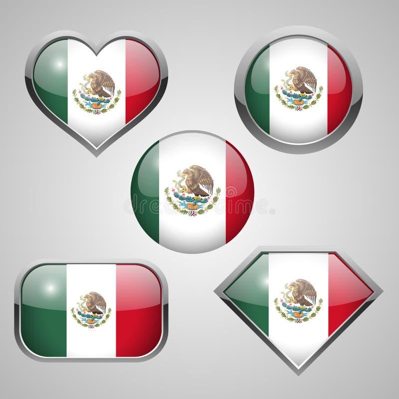 Mexico flaggasymboler royaltyfri illustrationer