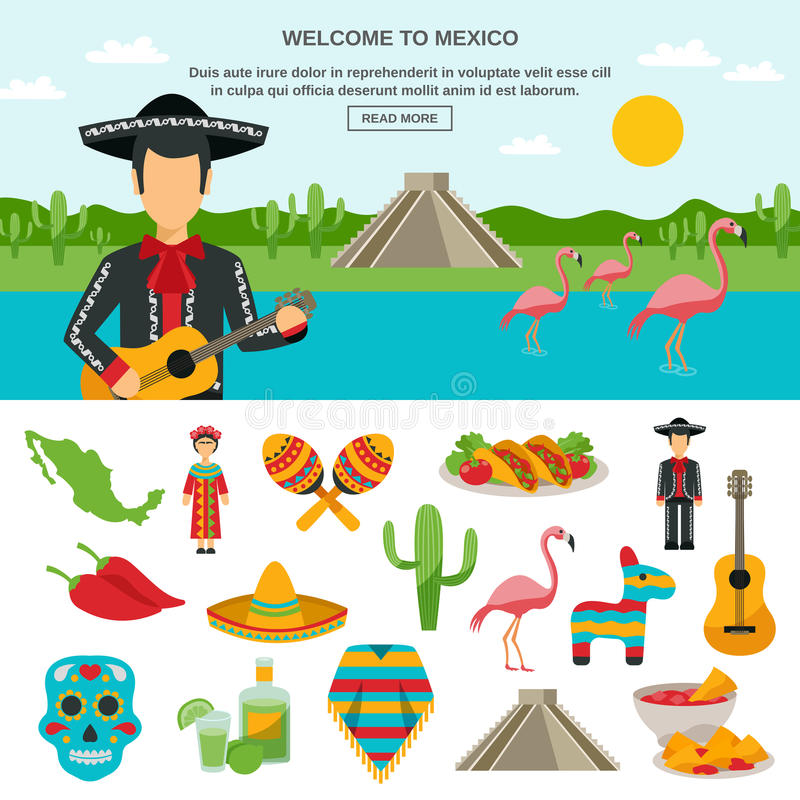 Mexico Flat Icon. Set of native symbol with natural landscape background banner element vector illustration royalty free illustration