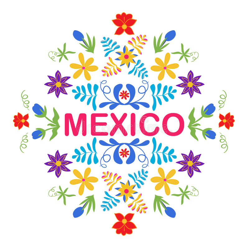 Mexico flowers, pattern and elements. Traditional Mexican orname vector illustration