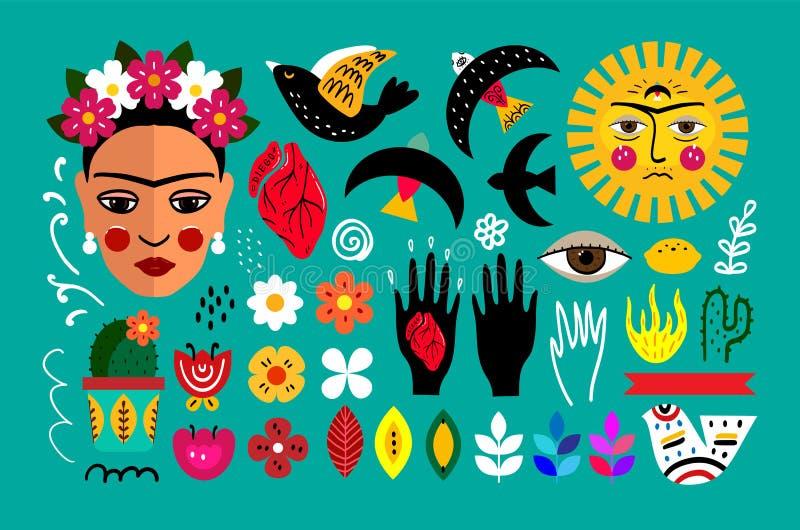 Mexico folkuppsättning stock illustrationer