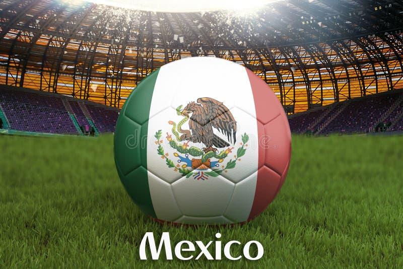 Mexico fotbollslagboll på stor stadionbakgrund Begrepp för Mexico lagkonkurrens Mexico flagga på bolllagturnering i Mexic stock illustrationer