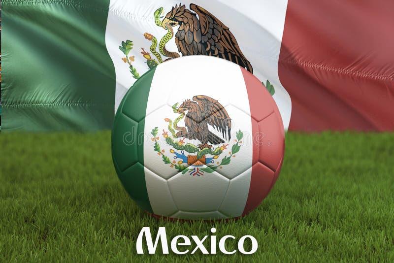 Mexico fotbollslagboll på stor stadionbakgrund Begrepp för Mexico lagkonkurrens Mexico flagga på bolllagturnering i Mexic royaltyfri illustrationer