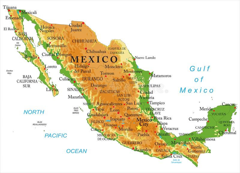 Mexico fysisk översikt royaltyfri illustrationer