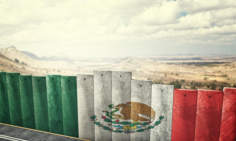 Mexico gränsvägg stock illustrationer
