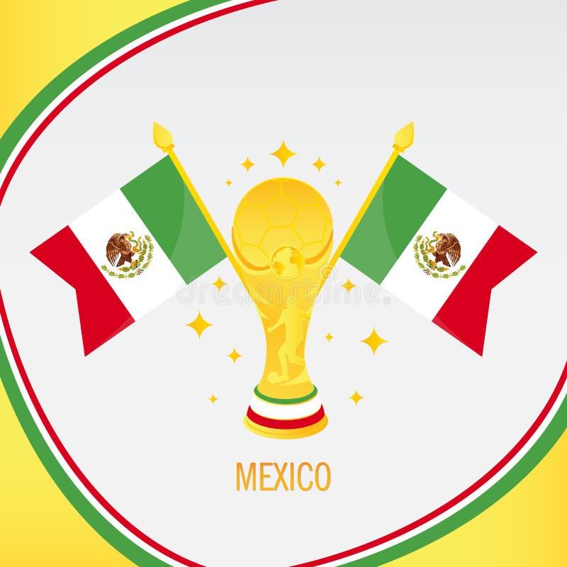 Mexico guld- fotbolltrofé/kopp och flagga stock illustrationer