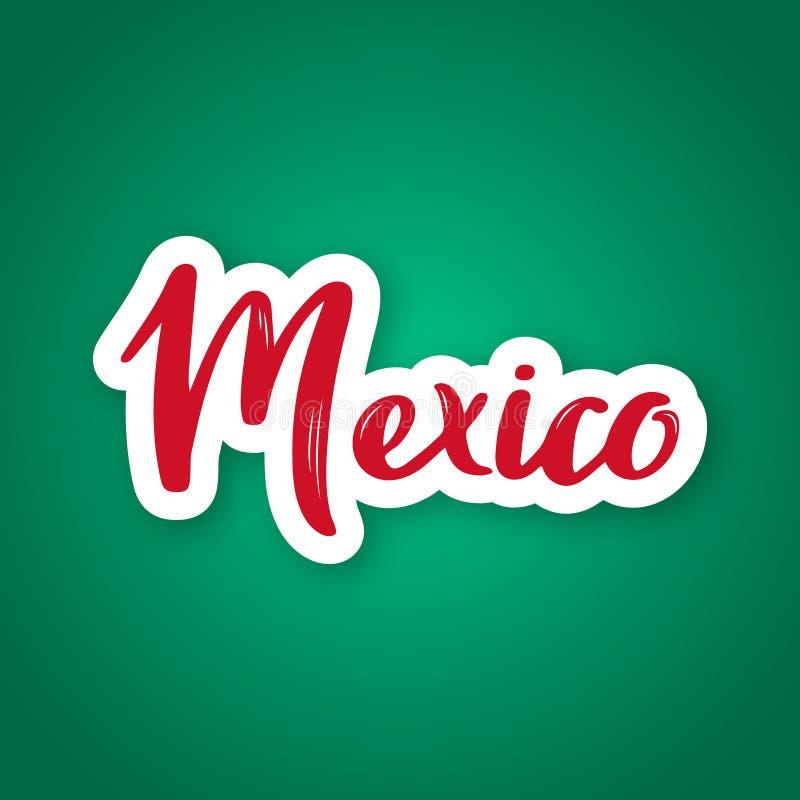 Mexico - hand getrokken het van letters voorzien naam van het kapitaal van Mexico stock illustratie