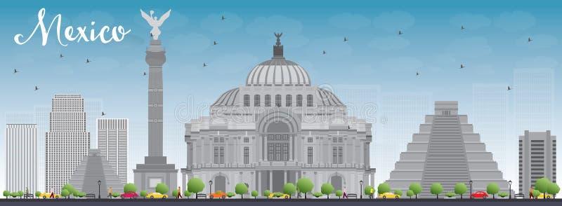Mexico horisont med gråa gränsmärken och blå himmel stock illustrationer