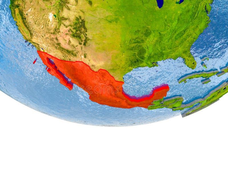Mexico i rött på jordmodell vektor illustrationer