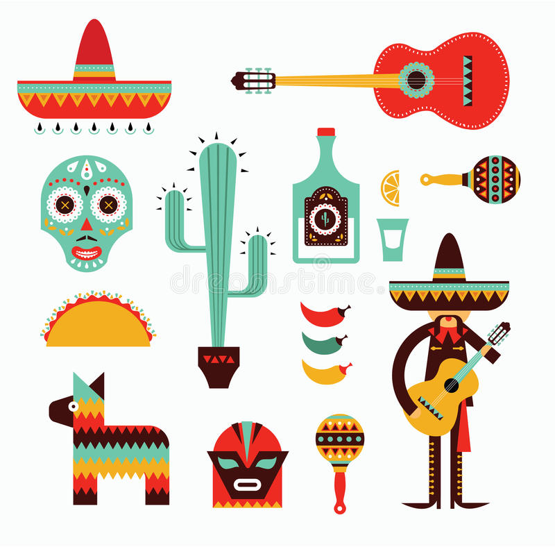 Free Mexico Icons Royalty Free Stock Photo - 29635695