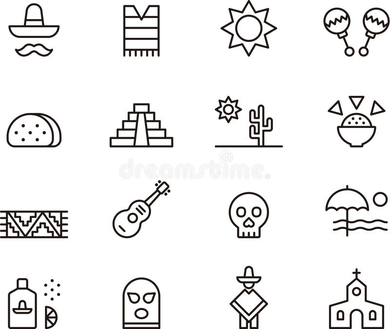 Mexico icons royalty free illustration