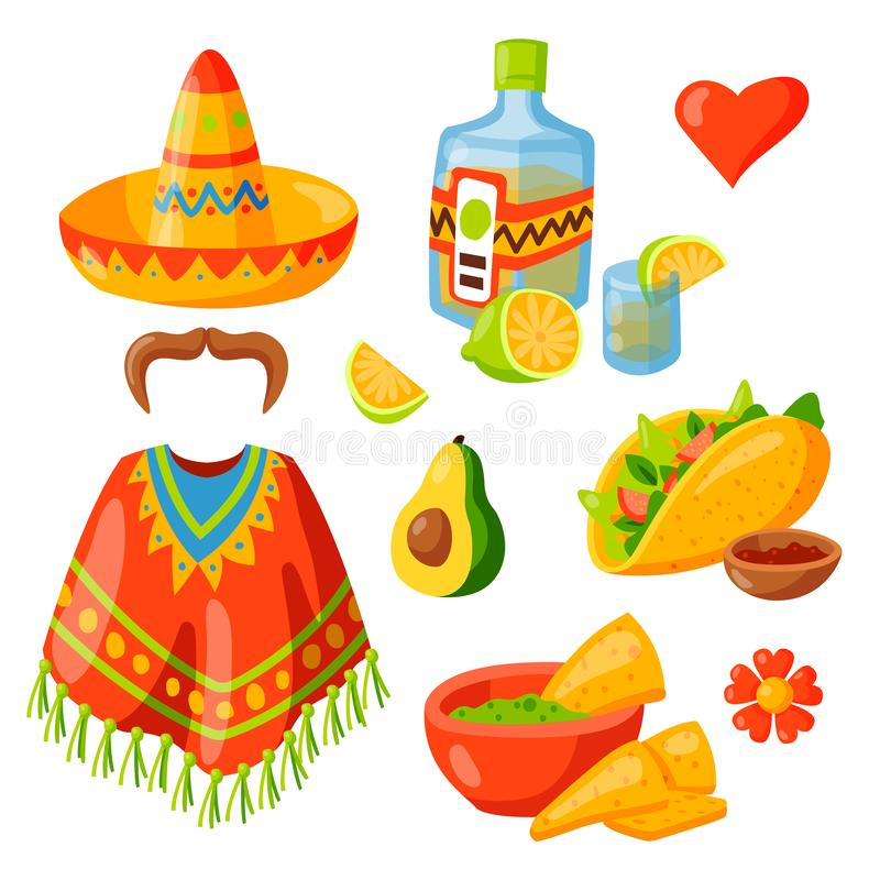 Mexico icons illustration traditional graphic travel tequila alcohol fiesta drink ethnicity aztec maraca sombrero. vector illustration
