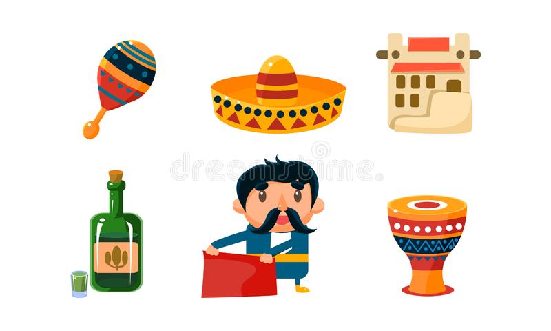 Mexico icons set, cute Mexican cartoon symbols vector Illustration on a white background stock illustration
