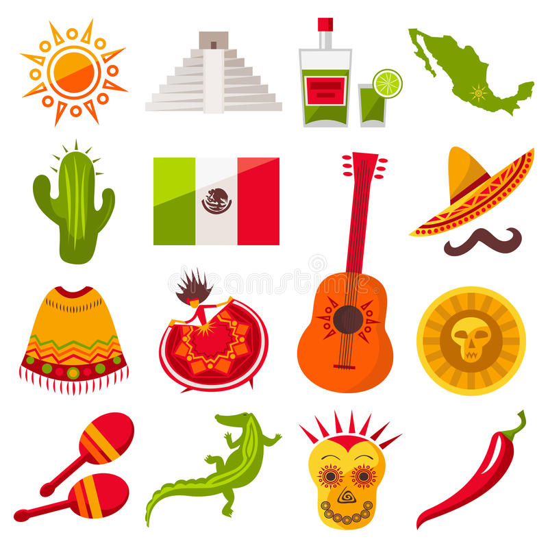 Mexico icons set. Set of Mexico icons isolated on white background. Collection for your mexican design and web. Vector illustration vector illustration