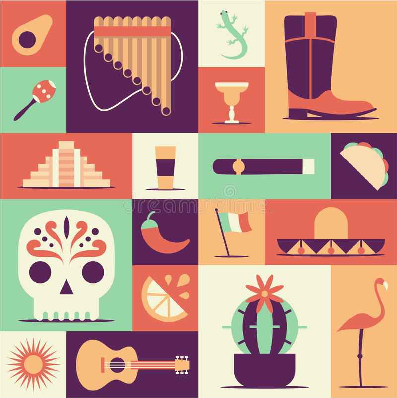 Mexico icons set. Sun, Moai pyramid, tequila, Mexico map, cactus, guitar, peyote, sombrero, chili, maracas, Mexico flag royalty free illustration