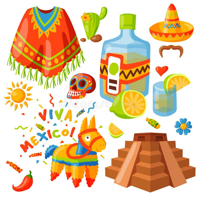 Mexico icons vector illustration traditional graphic travel tequila alcohol fiesta drink ethnicity aztec maraca sombrero vector illustration