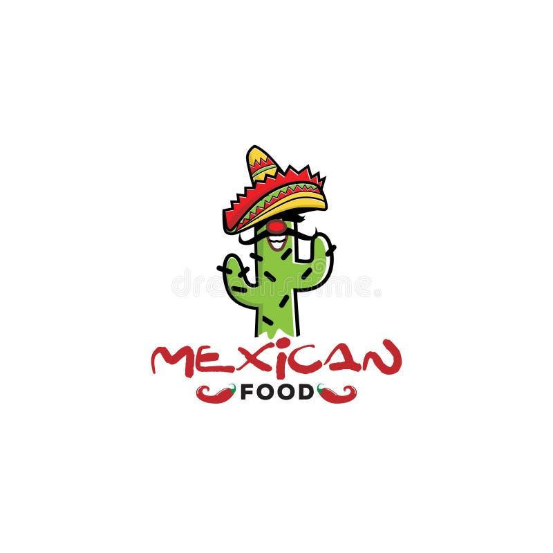 Mexico kaktustecken Logo Design royaltyfri illustrationer