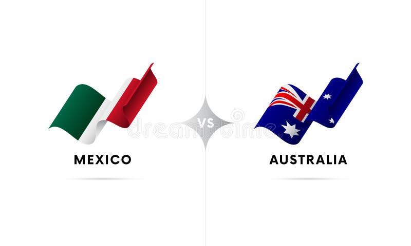 Mexico kontra Australien Fotboll också vektor för coreldrawillustration vektor illustrationer