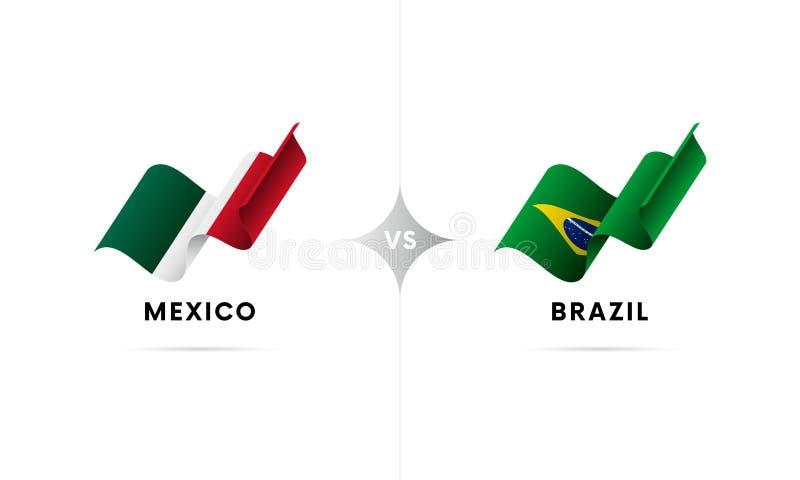 Mexico kontra Brasilien Fotboll också vektor för coreldrawillustration royaltyfri illustrationer