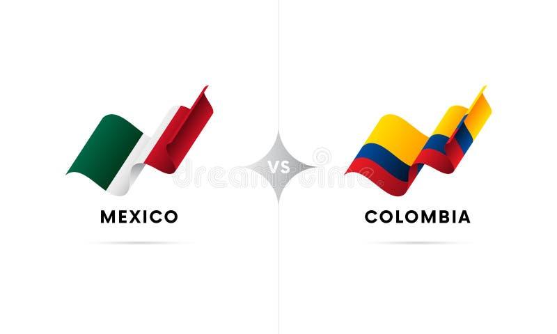 Mexico kontra Colombia Fotboll också vektor för coreldrawillustration stock illustrationer