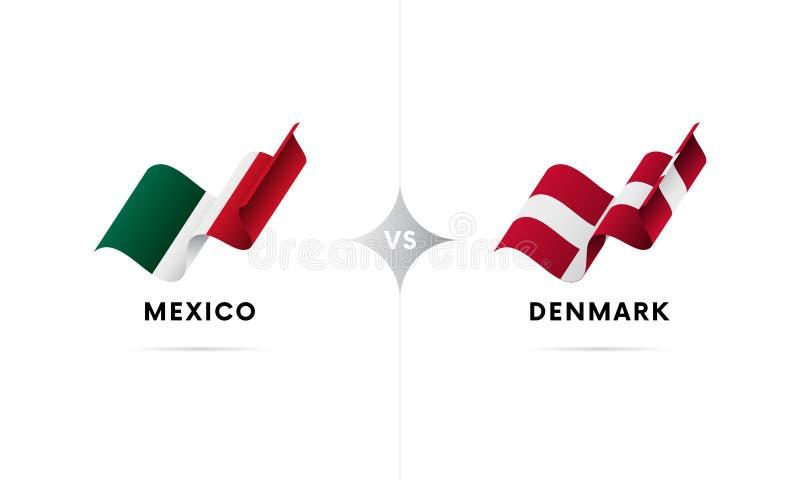 Mexico kontra Danmark Fotboll också vektor för coreldrawillustration vektor illustrationer