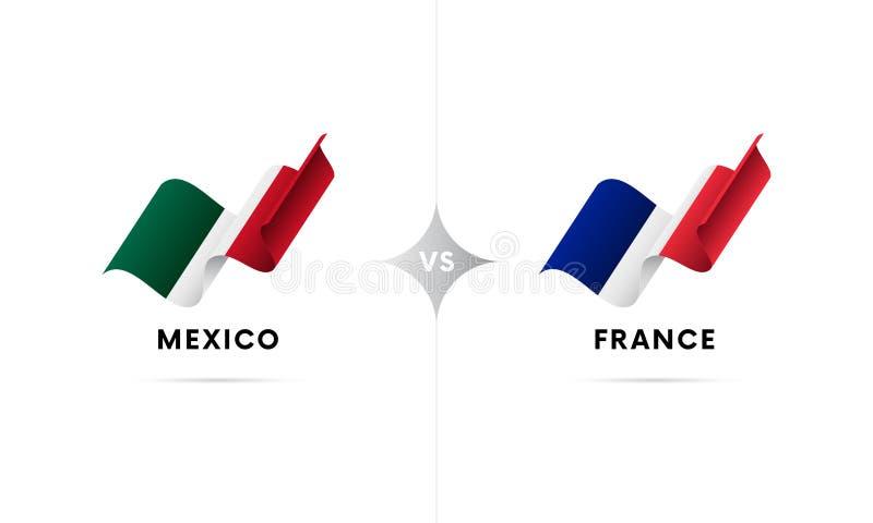 Mexico kontra Frankrike Fotboll också vektor för coreldrawillustration stock illustrationer