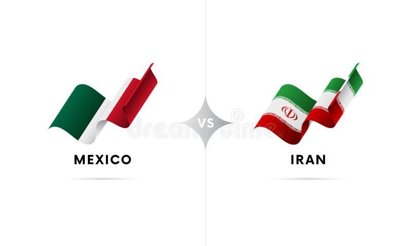 Mexico kontra Iran Fotboll också vektor för coreldrawillustration stock illustrationer