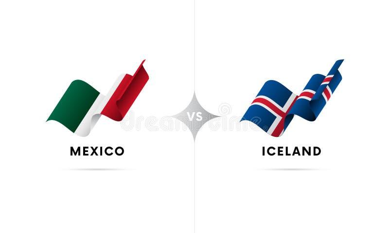 Mexico kontra Island Fotboll också vektor för coreldrawillustration vektor illustrationer