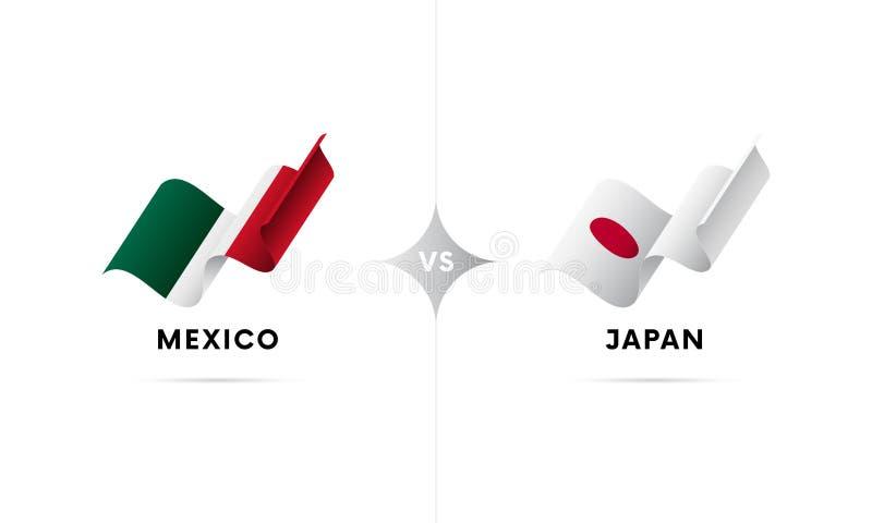 Mexico kontra Japan Fotboll också vektor för coreldrawillustration royaltyfri illustrationer