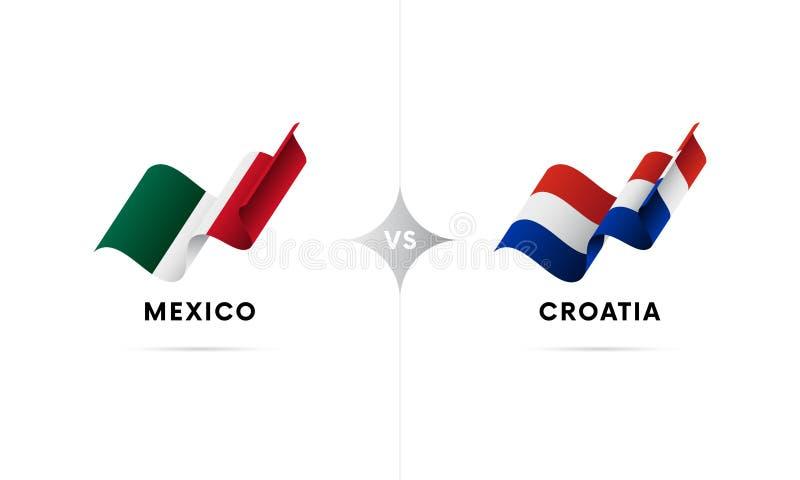 Mexico kontra Kroatien Fotboll också vektor för coreldrawillustration vektor illustrationer