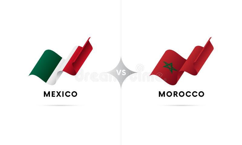 Mexico kontra Marocko Fotboll också vektor för coreldrawillustration stock illustrationer