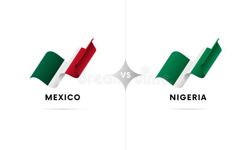 Mexico kontra Nigeria Fotboll också vektor för coreldrawillustration stock illustrationer