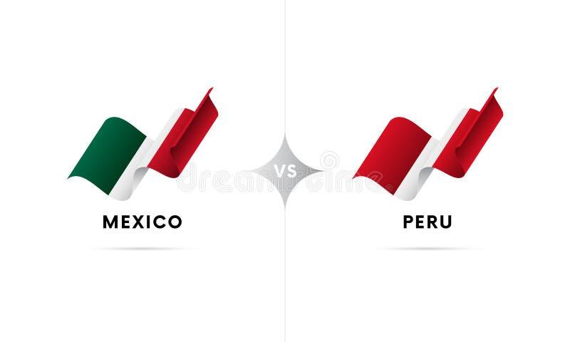 Mexico kontra Peru Fotboll också vektor för coreldrawillustration stock illustrationer