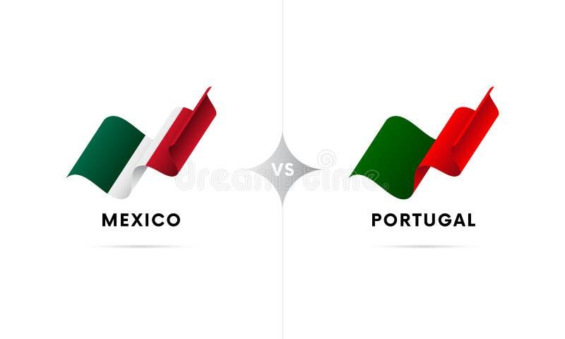 Mexico kontra Portugal Fotboll också vektor för coreldrawillustration stock illustrationer