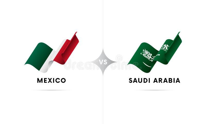 Mexico kontra Saudiarabien Fotboll också vektor för coreldrawillustration stock illustrationer