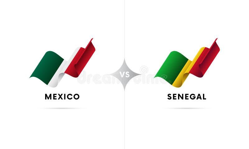 Mexico kontra Senegal Fotboll också vektor för coreldrawillustration stock illustrationer