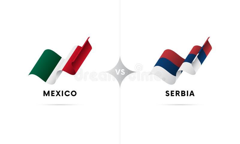 Mexico kontra Serbien Fotboll också vektor för coreldrawillustration stock illustrationer