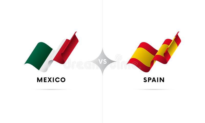 Mexico kontra Spanien Fotboll också vektor för coreldrawillustration stock illustrationer
