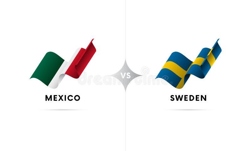 Mexico kontra Sverige Fotboll också vektor för coreldrawillustration stock illustrationer