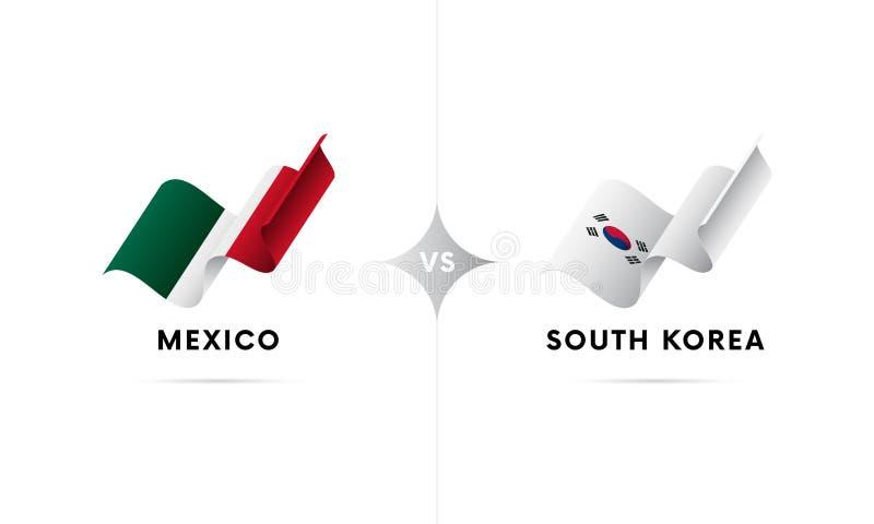 Mexico kontra Sydkorea Fotboll också vektor för coreldrawillustration stock illustrationer