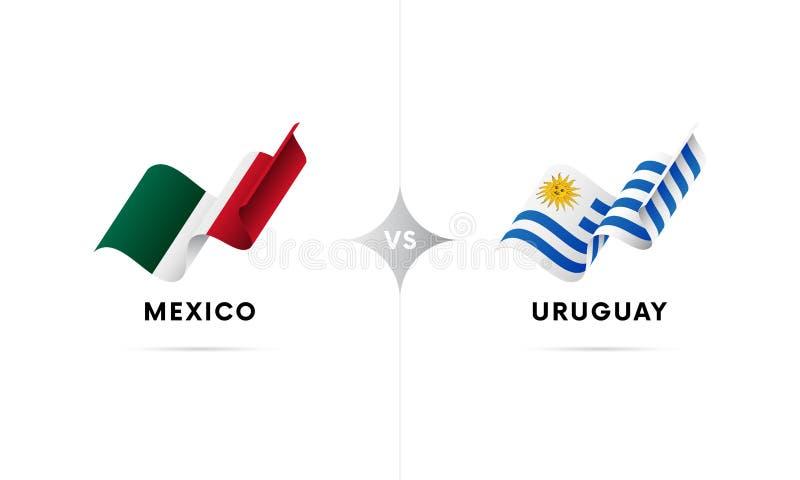 Mexico kontra Uruguay Fotboll också vektor för coreldrawillustration vektor illustrationer