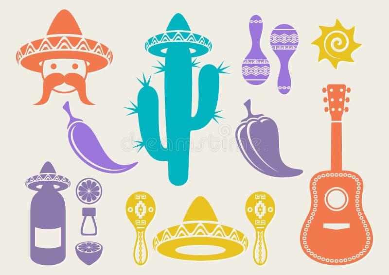 Mexico kontursymboler royaltyfri illustrationer