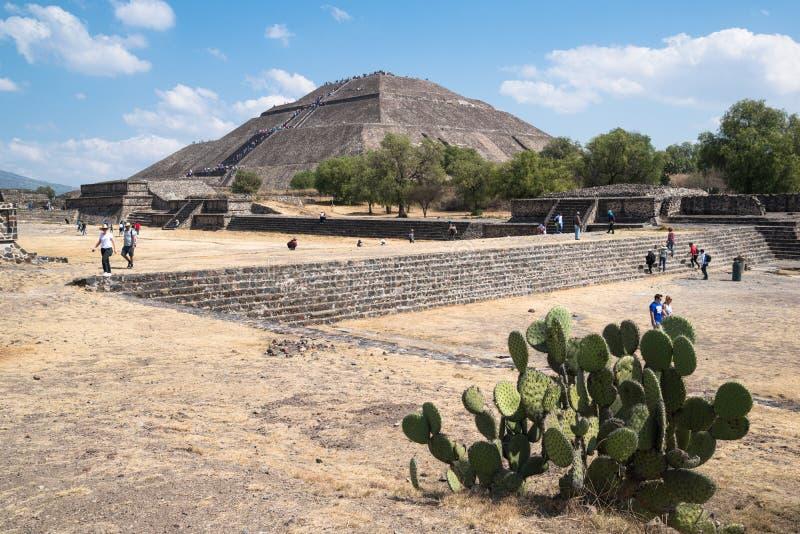 mexico księżyc ostrosłupa słońca teotihuacan widok obrazy royalty free