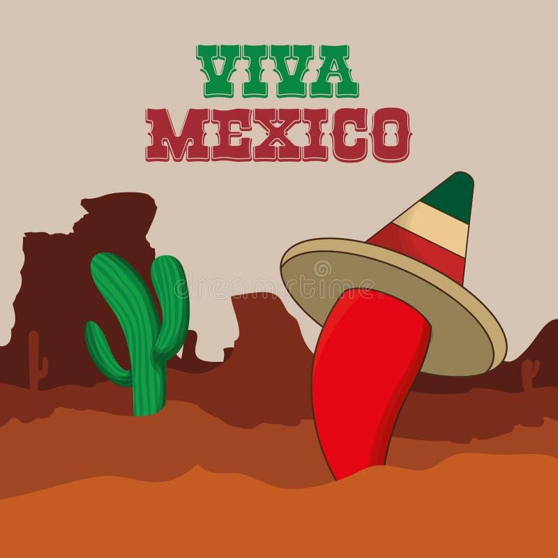 Mexico kultur och gränsmärkedesign royaltyfri illustrationer