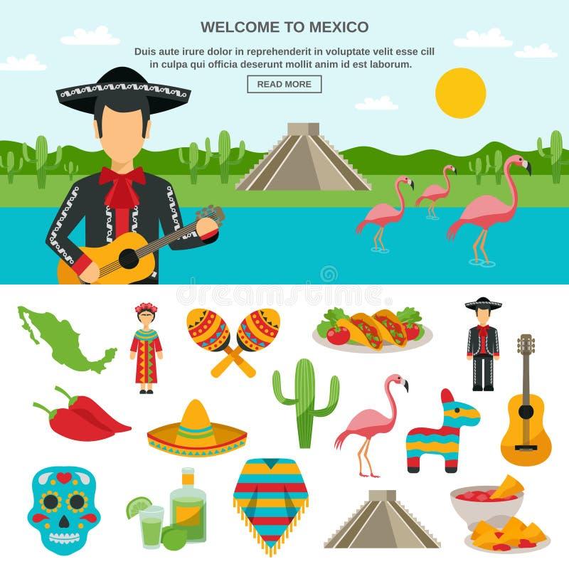 Mexico lägenhetsymbol royaltyfri illustrationer