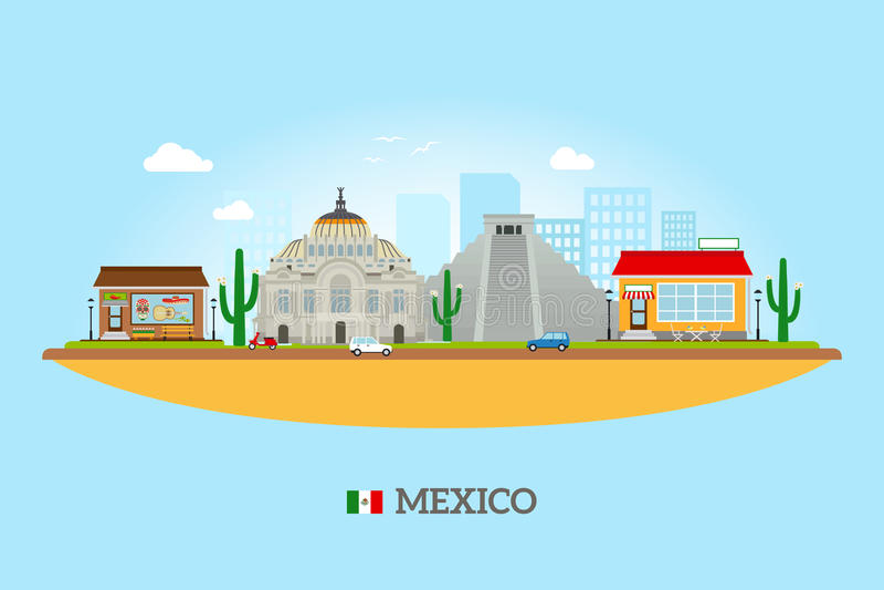 Mexico landmarks skyline vector illustration