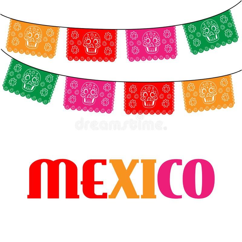 mexico malplaatje met het hangen van traditionele Mexicaan stock illustratie
