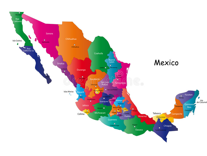 Mexico map. Designed in illustration with states colored in bright colors and with the main cities. Neighbouring countries are in an additional format (.AI) in
