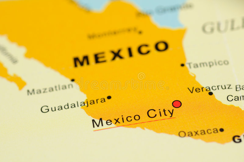 Mexico on map royalty free stock image